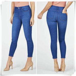 High Waisted Ankle Grazer Jeans In Bright Blue